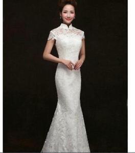 1b3fce14c47 Details about New Women Wedding Dress Cheongsam QiPao Chinese Evening Lace Party  Dress white