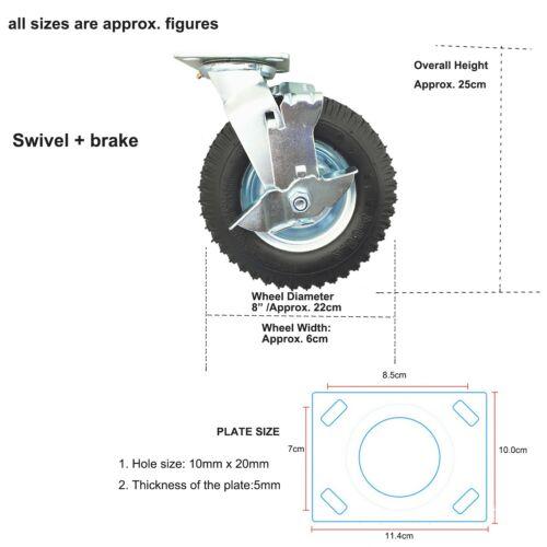 1//2//4 22cm Black Pneumatic Castor Swivel Plate Wheels Caster Tyre 120kg Max.