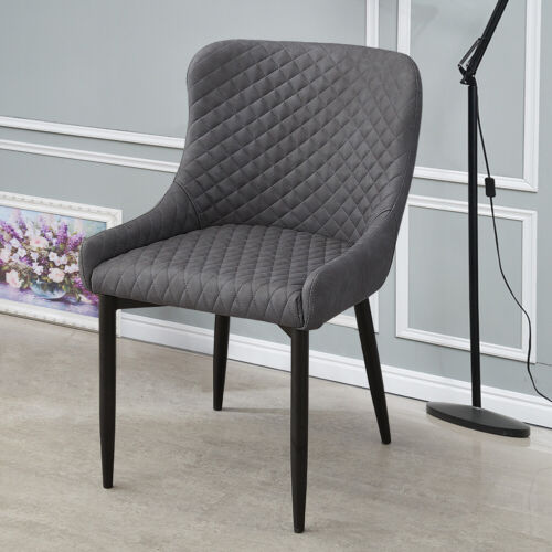 2x Luxury Dining Chair PU Faux Leather Metal Legs Grey Restaurant Kitchen Chairs