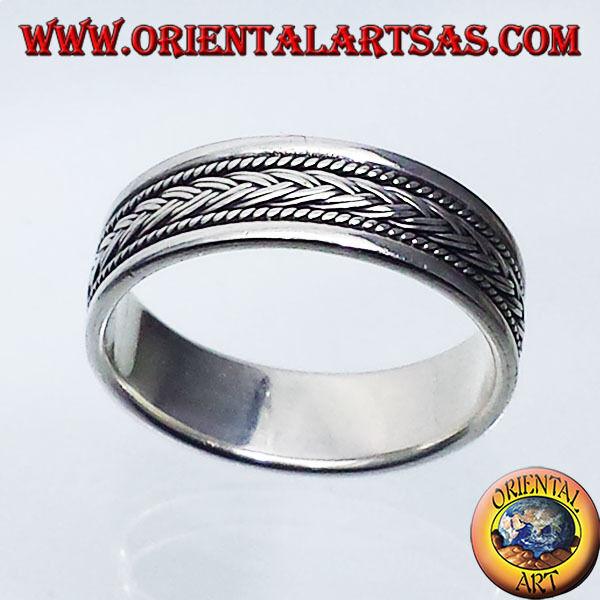 925 silver Ring Aufzeichnen, Zopf Geschnitzte