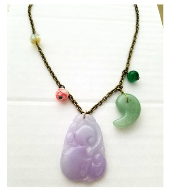 Carved Lavender jade mother of pearl coral pink conch shell flower necklace