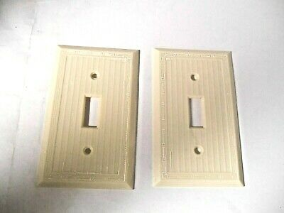 Vintage Uniline Bakelite Ivory 2 Gang 3 Way Ribbed Light Switch Wall Plate Cover