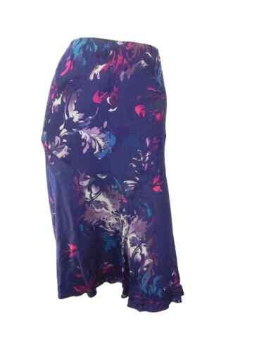 Mark /& Spencer púrpura impresión Floral Azul Marino Flippy Falda con Cintura Elástica