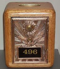 Oak Post Office Box Door Bank-Bronze Eagle w/Brass Slot