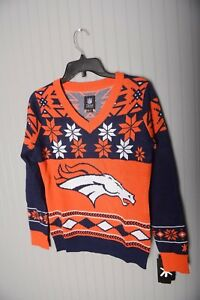 883dcbea Details about NFL UGLY Christmas SWEATER Denver Broncos Patches Sweatshirt  Womens V neck Small