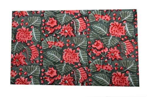 Indian Leaf Floral Hand Block Print Cotton Running Fabric Sanganeri Handmade New