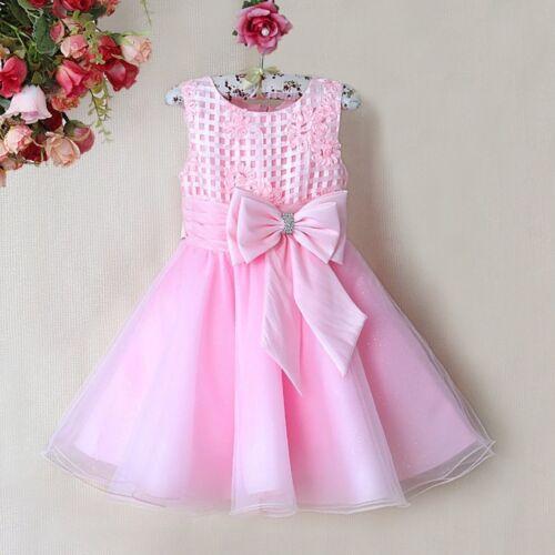 Prinzessin Blumenmädchen Brautjungfer Partei-Anlass Kleider Rosa Weiß