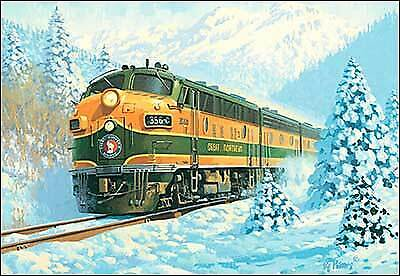 Leanin/' Tree Christmas Card BNSF Railroad Theme Northern Pacific ID#389