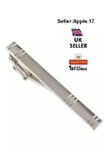 Da-Uomo-Uomini-SMART-Argento-Fermacravatta-barra-cromata-elegante-fibbia-in-metallo-Pin-1st-Class