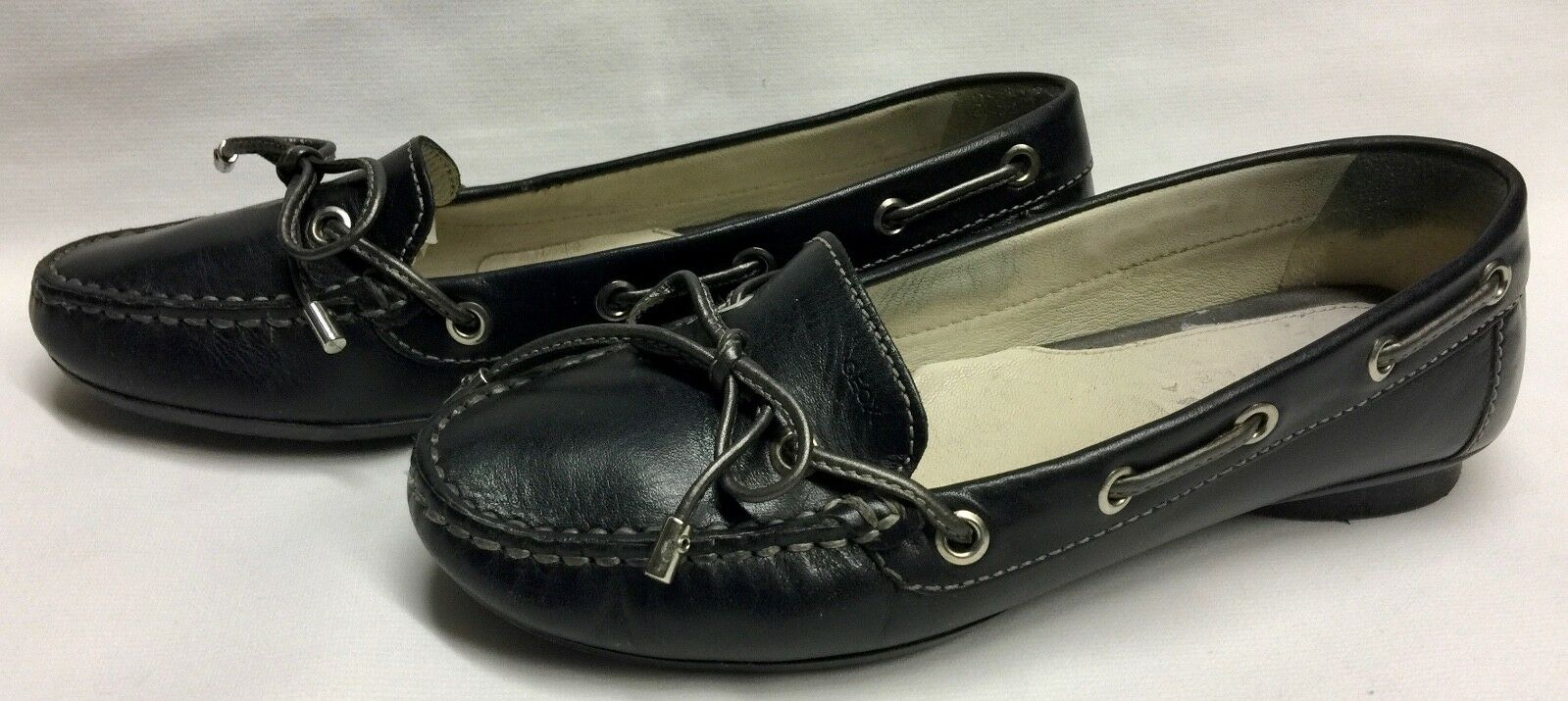 Geox D9138C Damen-Schuhe Lace Loafers Leder Gr 36 schwarz Mokassins schwarz 36 Halbschuhe eca71b