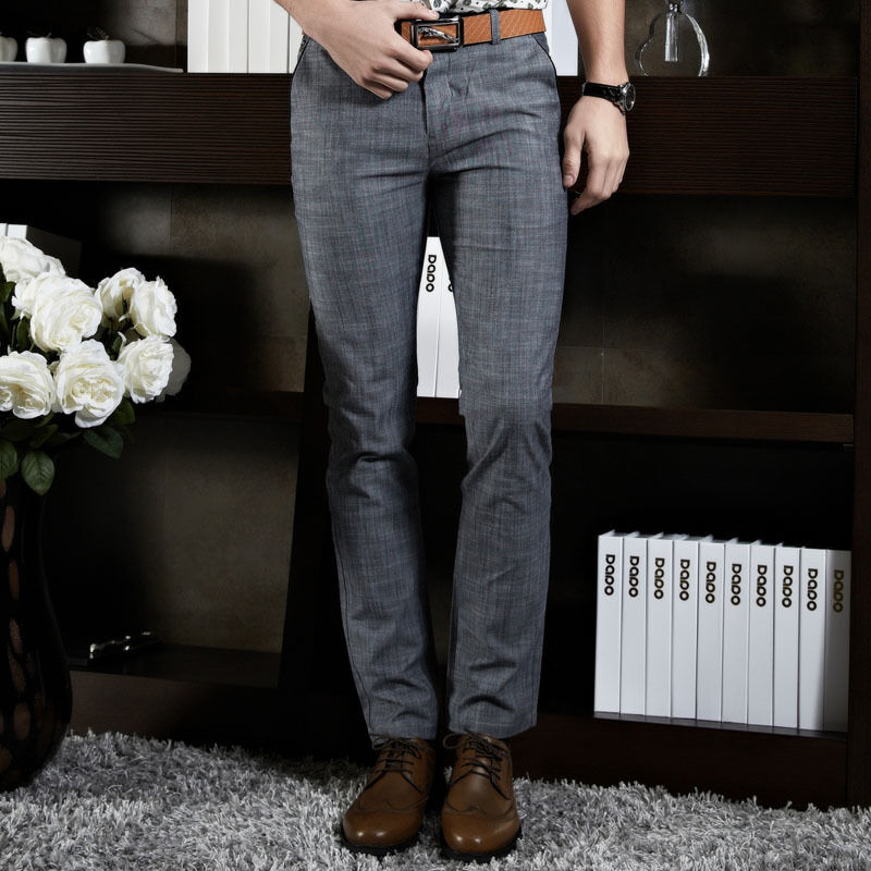 Stylish Mens Premium Slim Fit Formal Suit Dress Pants Straight Leg Trousers Hot