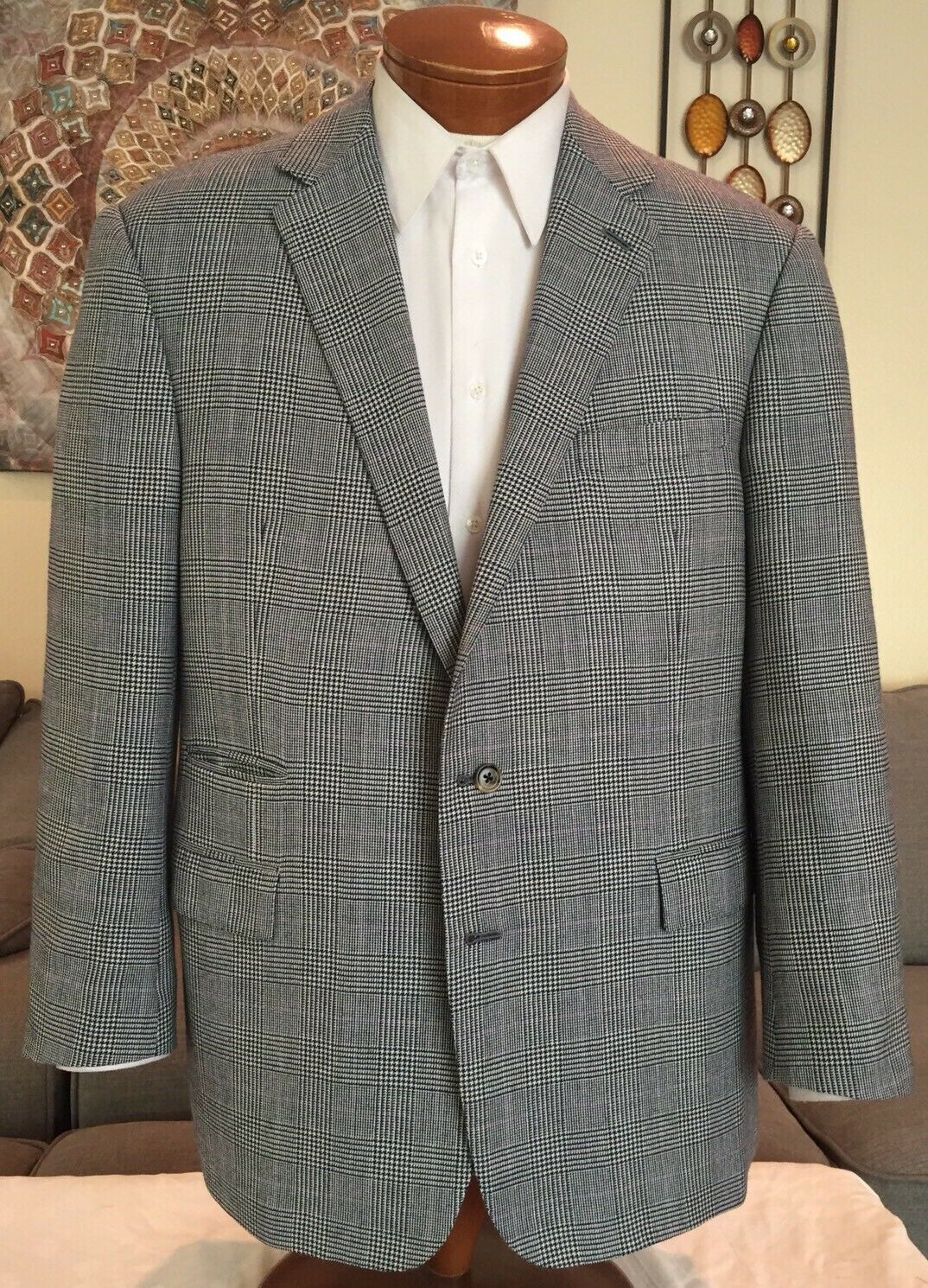 NEW Ralph Lauren lila Label Cashmere Wool Plaid 2 Btn Dual Vent Blazer Sz 46 R
