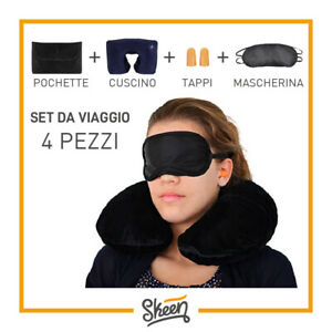 Set Kit da Viaggio Cuscino Memory Foam Tappi per Orecchie Mascherina Occhi Notte