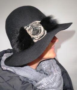 chapeau-pour-femmes-en-noir-elegant-laine-AVEC-APPLICATION-FOURRURE-OCCASIONS