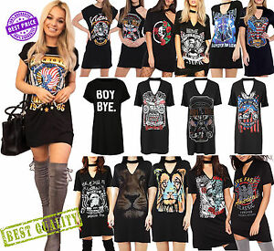 5bdd535ecbe1 New Ladies Cap Sleeve Choker V Neck T Shirt Top Dress Rock Slogan ...