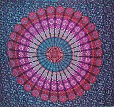 Indian Peacock Mandala Tapestry Wall Hanging Hippie Bedspread Purple - Double