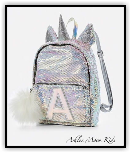 NWT JUSTICE Girls Unicorn Flip Sequin MINI Backpack Letters CHOOSE LETTER