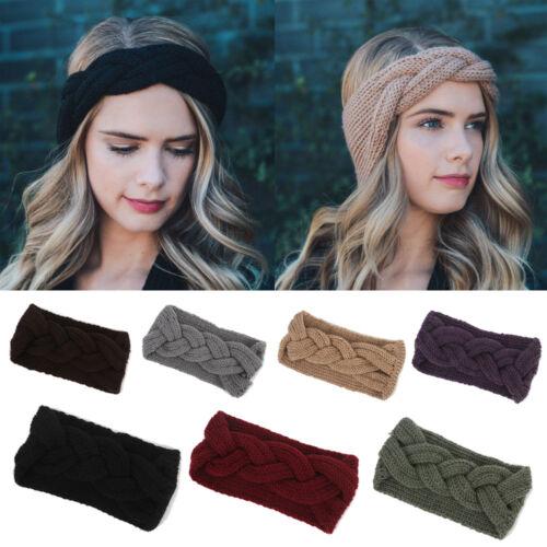 Femmes Hiver Crochet Turban Tricot Head Wrap Bandeau Hiver Oreille Chaud Bandeau