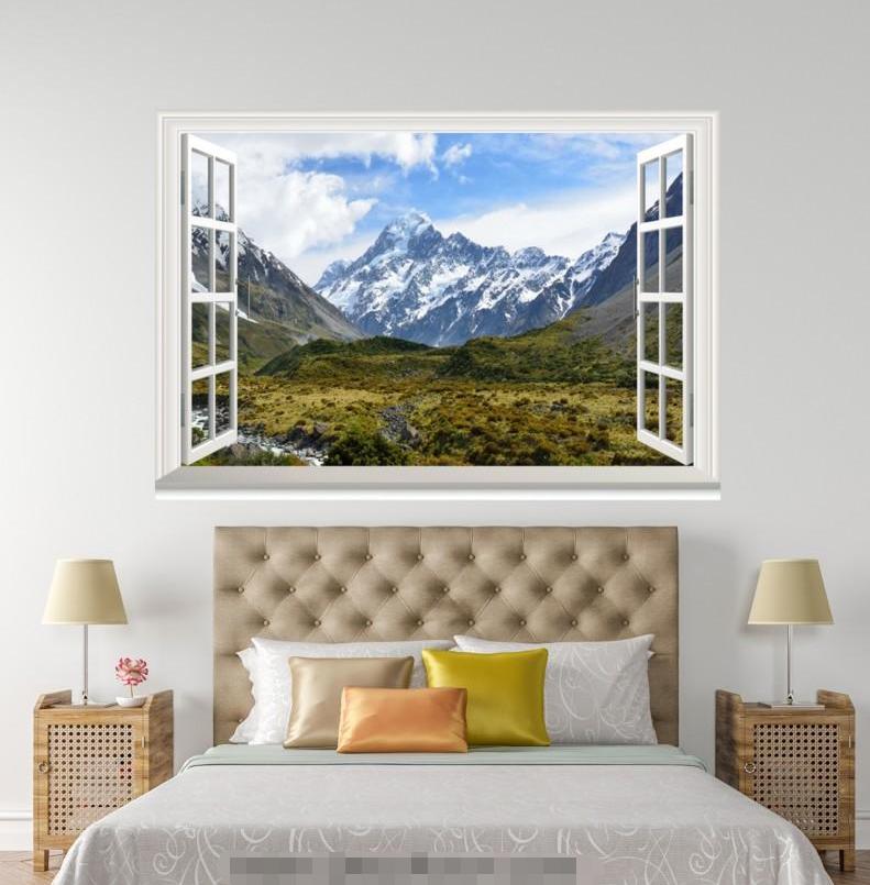 3D  Weiß Snow Hill 51 Open Windows Mural Wall Print Decal Deco AJ Wallpaper Ivy