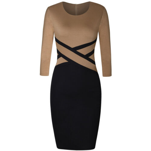 Womens Colorblock Office Party Bodycon Pencil Sheath Dress Work Business Skirt