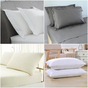 Gris-Blanc-400-TC-Taies-d-039-Oreiller-Housewife-Coton-Coussin-Housse-Paire-Pack-Oxford