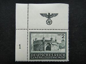 Germany Nazi 1943 1944 Stamp MNH Rondel and Florian's Gate Cracow Swastika Eagle