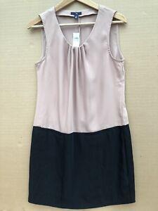 Brecha-Nueva-Talla-10-Negro-Beige-Vestido-Recto-Sedoso-bolsillos-forrados-de-poliester-RRP-49-95