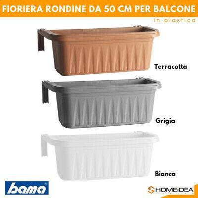 FIORIERA BALCONE BALCONIERA 50 CM IN PLASTICA REGOLABILE RONDINE TERRACOTTA BAMA