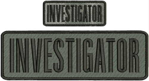 investigator embroidery patch 3x9.5 and 1.5x4 hook hook on back