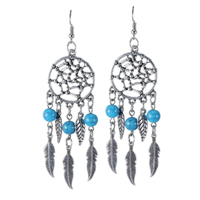 1 pair Charm Women Antique Dream Catcher Turquoise Beads Dangle Hook Earrings