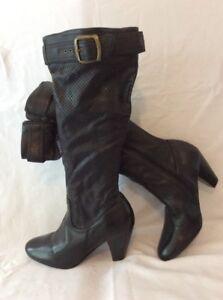 noir avec 6 logo Love hautes cuir en Bottes IWEH9D2