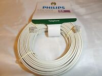 Philips 50 Ft Almond Phone Line Cord Rj11 For Fax Modem Printer Telephone Voip