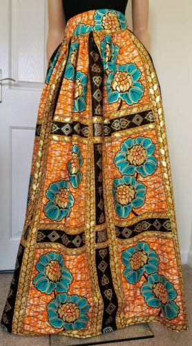 /'Golden Flowers/' African Print Full Length//Maxi Skirt 100/% Cotton Handmade UK