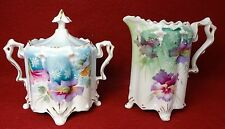 UNMARKED RS PRUSSIA china 4-Footed Blown Out Mold Creamer & Sugar Set - 4-1/4""