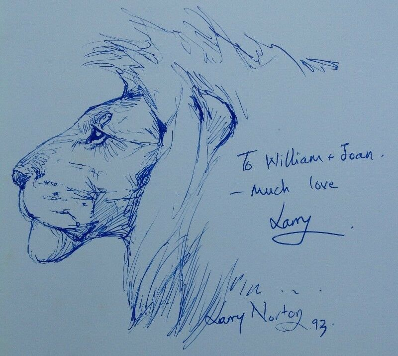 THE ZAMBEZI - River of the Gods - Jan & Fiona Teede - book signed with original illustration of Lion