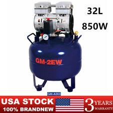 Portable Dental Air Compressor Oil Less Silent 850w 32l Mobile Air Compressor Us