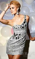 One shoulder/sleeve Silver Sequin Terani Couture cocktail/prom dress size 2