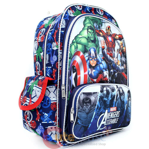 "Hero/'s All Over Marvel Avengers Assemble Large School Backpack 16/"" Book Bag"