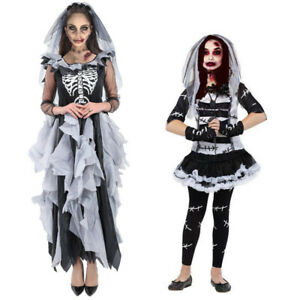 Capable Zombie Halloween Filles Costume Monster Bride Frankenstein Adulte Enfant Robe De Fantaisie-afficher Le Titre D'origine