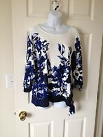 Chicos Floral Wash Blue Grotto & White East West Side Tie Top Sz 2 = 12 / 14