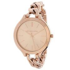 New Michael Kors Slim Runway Twist Rose Gold Chain Link MK3223 Women's Watch