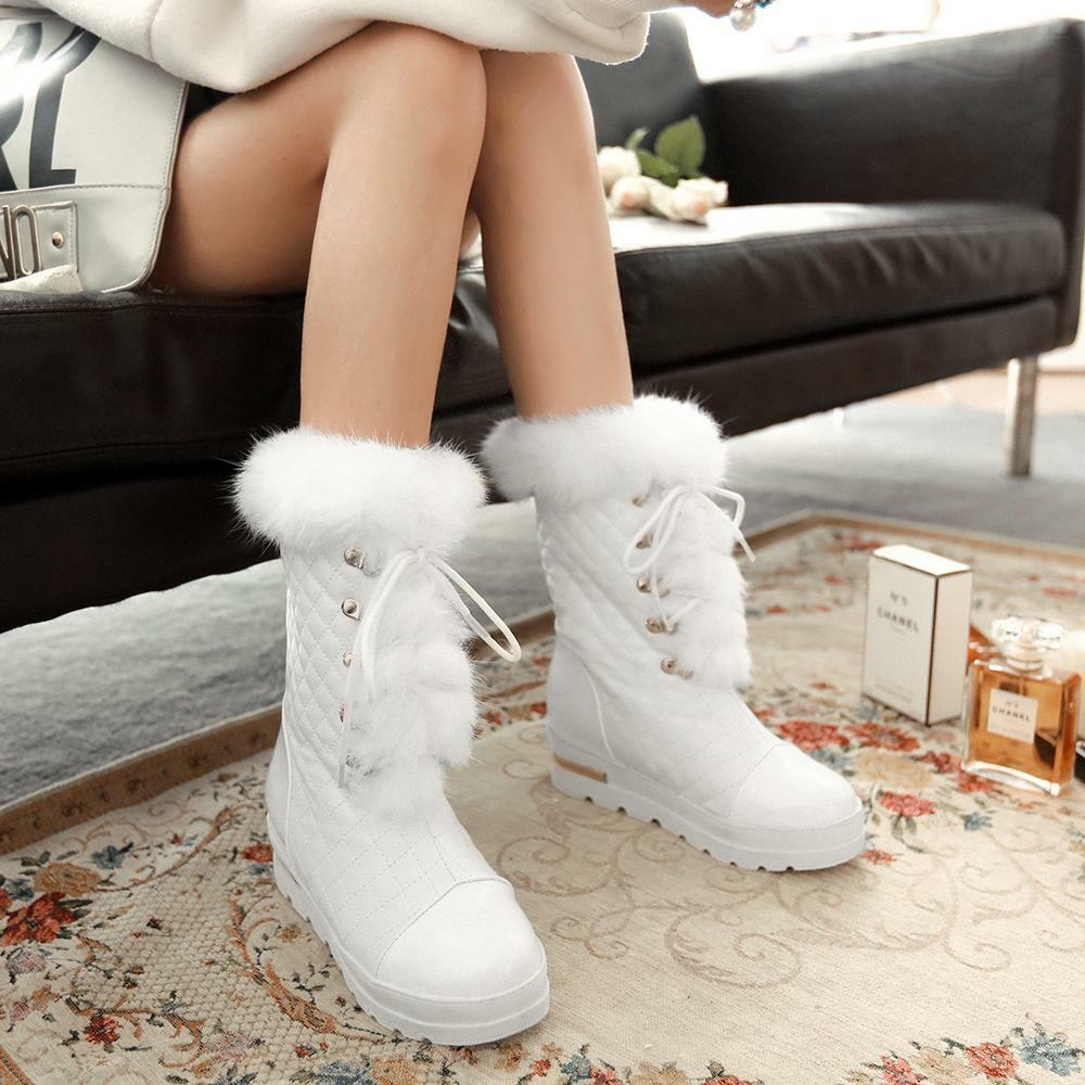 Women Boots Winter Ladies Lace Up Mid Calf Boots Wedge Heel Warm Fur Snow shoes