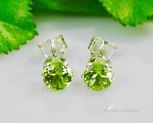 Genuine-Green-Peridot-Round-Sterling-Silver-Earrings-Choose-Your-Size