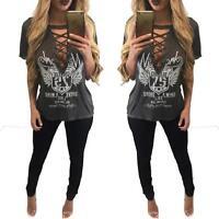 Women Rock Punk Short Sleeve Choker Lace Up Wing Printed Loose Top Blouse Shirt