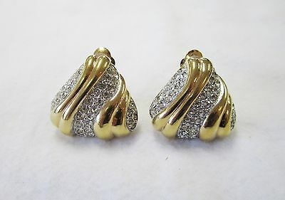 ST. JOHN KNITS VINTAGE EARRINGS 22KGOLD PLEATED & SWAROVSKI CRYSTAL CLIP-ON