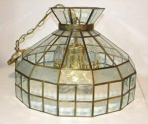 Tiffany Style 21 Clear Etched Glass Chandelier Ceiling Light 6 Bulb W Brass Ebay
