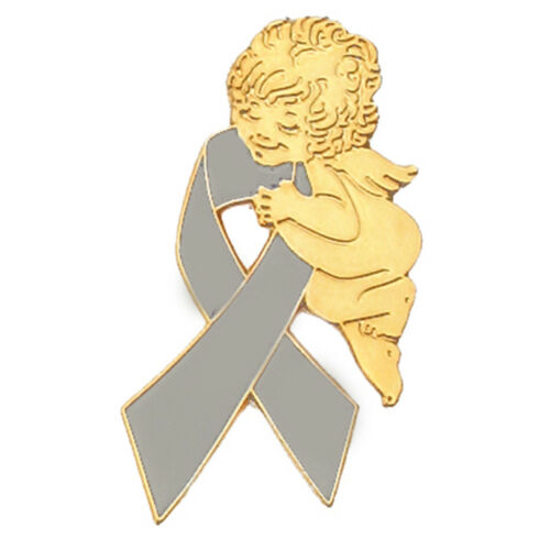 PinMart/'s Grey Awareness Ribbon Religious Spiritual Angel Enamel Lapel Pin