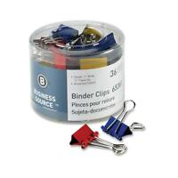 Business Source Binder Clips Small 3/4w 3/8 Capacity 36/pk Assorted 65361