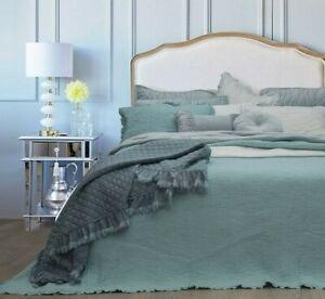 Audrey-Blue-100-Cotton-Coverlet-Bedspread-Bedcover-Comforter-Set-2pcs-Single