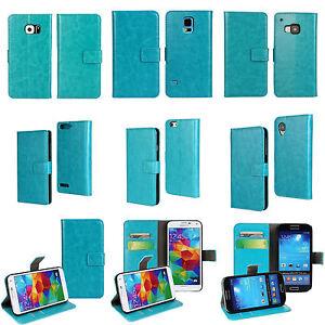 PU-Leather-Luxury-Flip-Case-Funda-libro-Carcasa-Piel-PU-Cartera-Cuero-Cielo-Azul